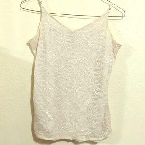 🍡3/$10 White Lace Tank - spaghetti strap